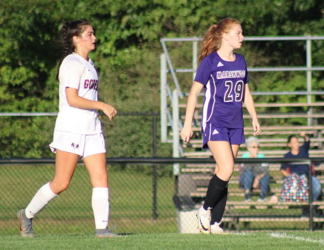 Marshwood High School sophomore Lilli Hammond (29) has five goals in the first two games of the girls soccer season. Hammond had four goals in Friday's 7-0 season-opening win last Friday, and notched Marshwood's lone goal in Tuesday's 4-1 loss to Gorham.