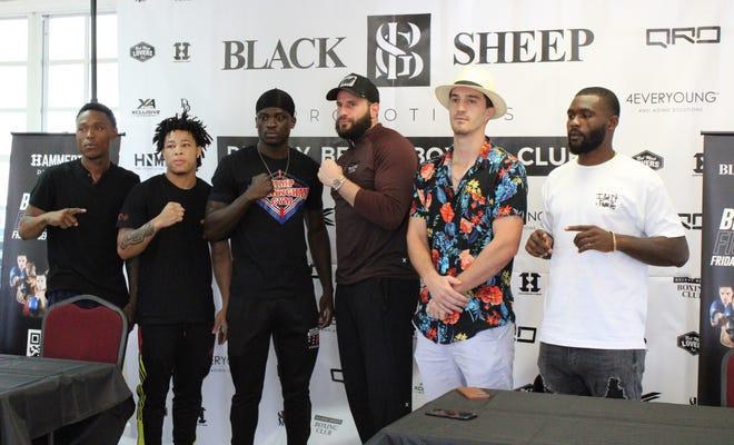 From left To right: Fighters Tobias Green, Antonio Williams, Jonas Sylvain, Joe Samara, Marcos Escudero, and Robert Daniels Jr. promo Black Sheep Fight Night at the Delray Beach Tennis Center on Friday, Sept. 10, 2021.