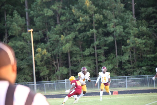 Booker T. running back Jerome Jones would prove to be difficult to stop throughout the game.