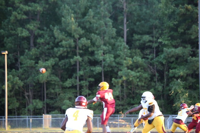 Junior defensive tackle, Jamar Hodges bats down a pass and would follow the ball into the end zone for a safety.
