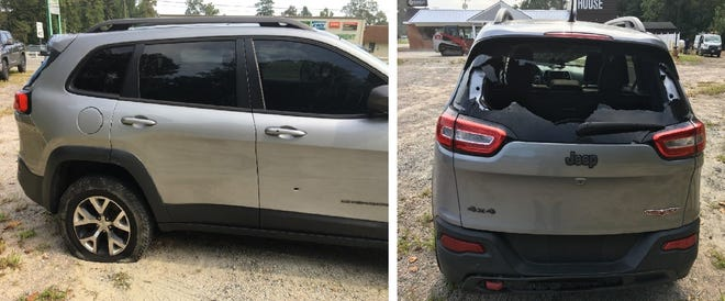 These images show a 2014 Jeep Cherokee discovered in the parking lot of Q-Daddy's restaurant in Wakefield, Va. Wednesday, Sept. 8, 2021. The Virginia State Police say it was reported stolen the day before in Prince George County.
