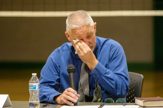 Kevin Purnell gives an emotional farewell to the Adrian community after the Adrian School Board fired him after meeting in executive, or closed, session for about 10 minutes Aug. 30.