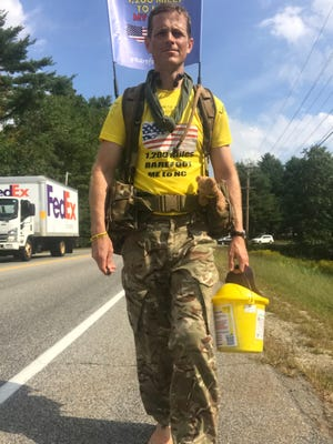 Maj. Chris Brannigan is hiking barefoot from Maine to North Carolina to help find a cure for his daughter who has a rare genetic disorder calledCornelia de Lange syndrome(CdLS).His few stops in Massachusetts include a stop in Worcester.
