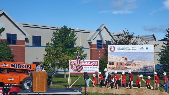 Greenville Middle School students help break ground on the school's $21 million expansion project Sept. 8. Hortonville Area School District voters approved a $41 million referendum in the April election to pay for the project.