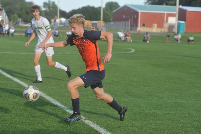 Galion's Jack Hart brings the ball up field.