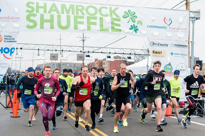 Racers in the Shamrock Shuffle begin and end near the regional headquarters of Cleveland-Cliffs on West Chester Road