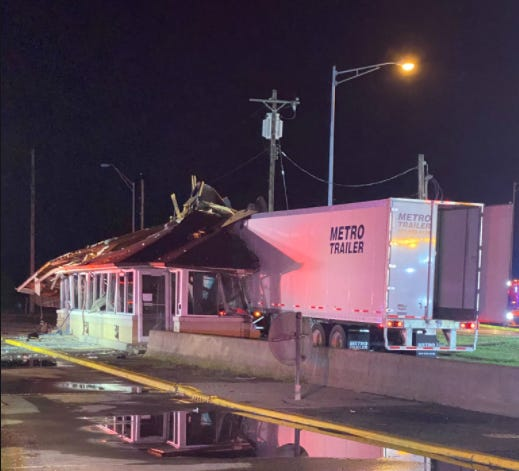 A semi left the roadway on I-74 Westbound at the Indiana/Ohio state line, crashing through the scalehouse at the West Harrison weigh station Wednesday morning