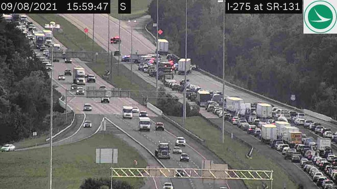 A crash closed I-275 South beyond Milford Parkway on Wednesday, Sept. 8, 2021.