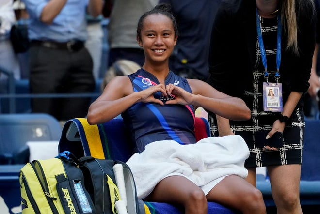Canada's Leylah Fernandez motions to her box after defeating Ukraine's Elina Svitolina in the quarterfinals of the U.S. Open on Tuesday in New York.