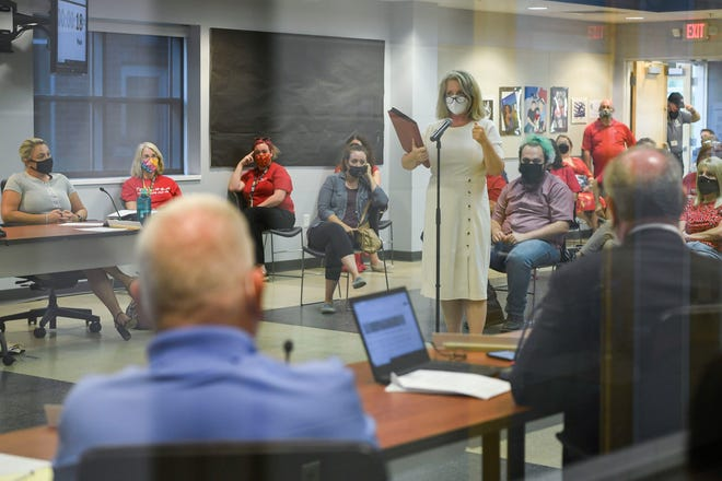 Lori Young, President of the Evansville Teachers Association, addresses the school board during the Evansville Vanderburgh School Corporation budget meeting at the EVSC building on Walnut Street in Downtown Evansville, Ind., Tuesday, Sept. 7, 2021.