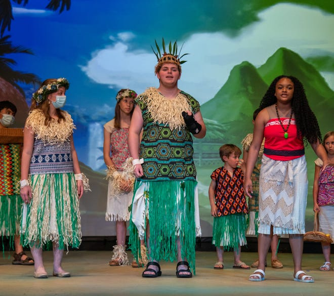 """The cast of """"Moana Jr."""" rehearses during tech week at the Mansfield Playhouse. The youth production will be offered the next two weekends."""