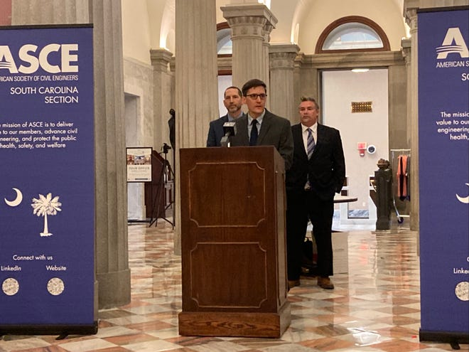 Jonathan Thrasher, President of the South Carolina section of the American Society of Civil Engineers lists out the findings of South Carolina's infrastructure report.