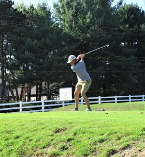 Lancaster senior Harrison Allen tees off on No. 18 during the Lancaster Invitational Tuesday at Lancaster Country Club. The Golden Gales finished fourth out of 13 teams.