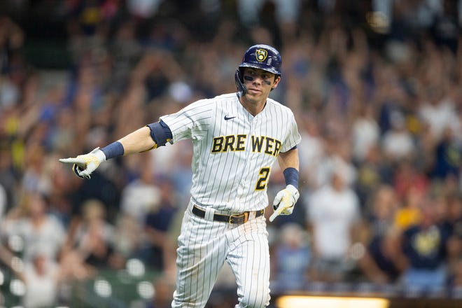 Christian Yelich had a nine-game hitting streak going into September.