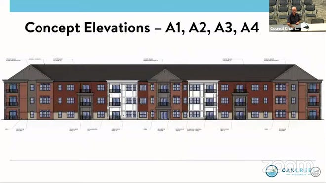 Here is a rendering of the 44-unit, three-story building proposed by Decker Properties as part of a larger multifamily development.