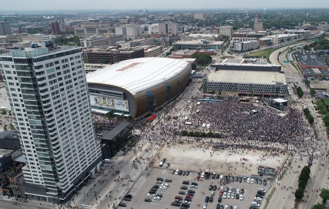 The Milwaukee Bucks might be revising their development plans for sites near Fiserv Forum--including the lot that was filled with fans celebrating the NBA championship in July.
