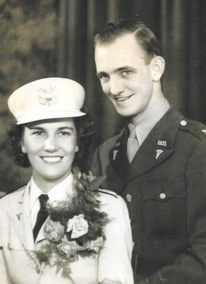 The Hossley's wedding photo during WW-II.