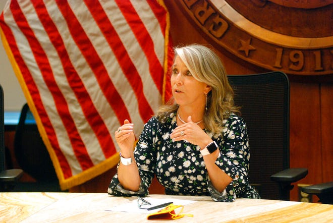 In this July 29, 2021, file photo New Mexico Gov. Michelle Lujan Grisham speaks at a news conference in Santa Fe, N.M.