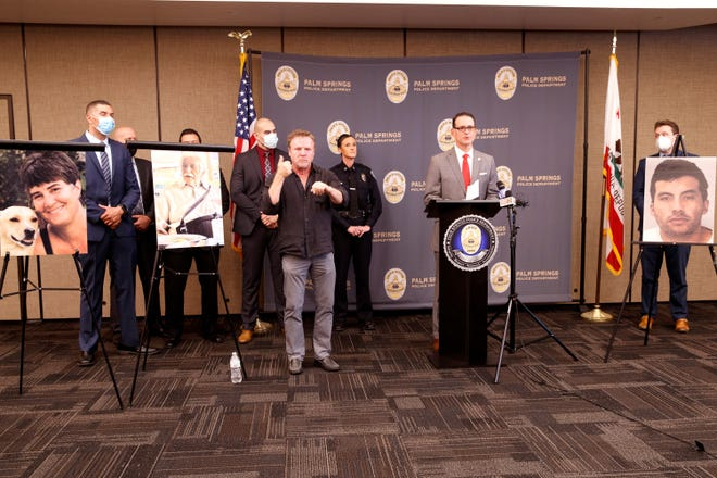 Riverside County District Attorney Michael A. Hestrin announces that a Palm Springs man has been charged with two murders during a press conference in Palm Springs, Calif. on Sept. 8, 2021.