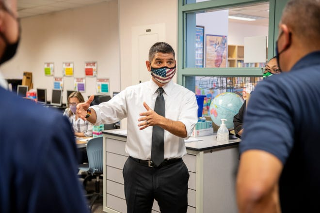 Congressman Raul Ruiz tours Andrew Jackson Elementary School in Indio, Calif. on Sept. 8, 2021. Ruiz toured the school to highlight how nearly $250 million in COVID relief funds are being used in local schools.