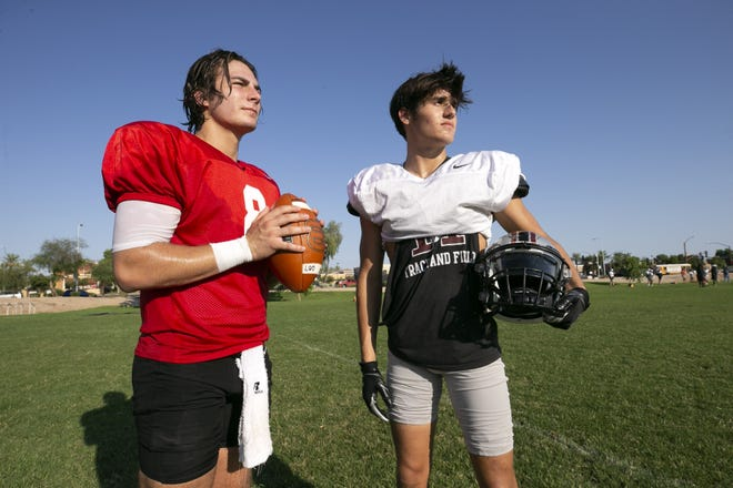 Hamilton High quarterback Nicco Marchiol, left, and wide receiver Christian Anaya, at Hamilton High in Chandler on September 7, 2021.