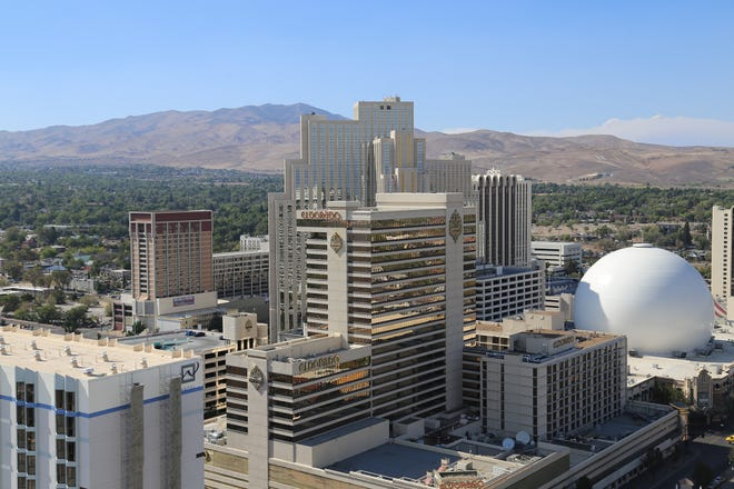 A view of downtown Reno from the Reno City Center project, formerly the Harrah's Reno hotel-casino, from Sept. 1, 2021.