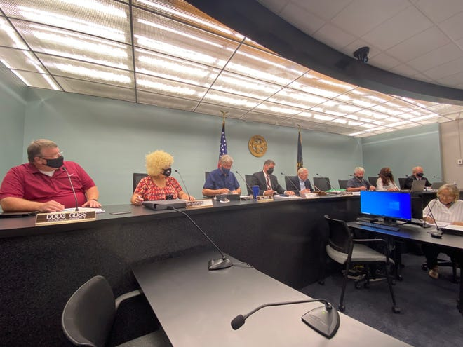 Richmond Common Council members conduct their first meeting from the renovated council chambers Tuesday, Sept. 7, 2021.