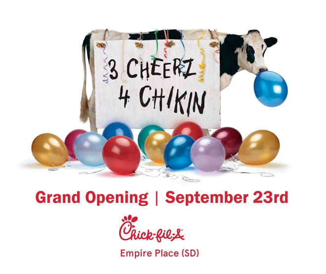 Chick-fil-A announced their Grand Opening in Sioux Falls