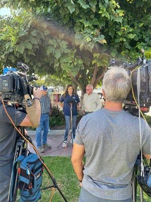 Gubernatorial candidate Caitlyn Jenner speaks at Gill's Onions in Oxnard on Sept. 6.
