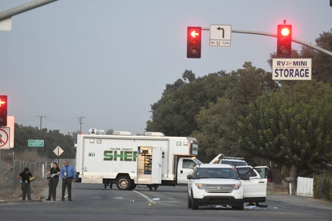 """Tulare County sheriff's detectives investigated a shooting that left a driver in """"very critical"""" condition at the intersection of Noble Avenue and Road 156, just outside Visalia."""