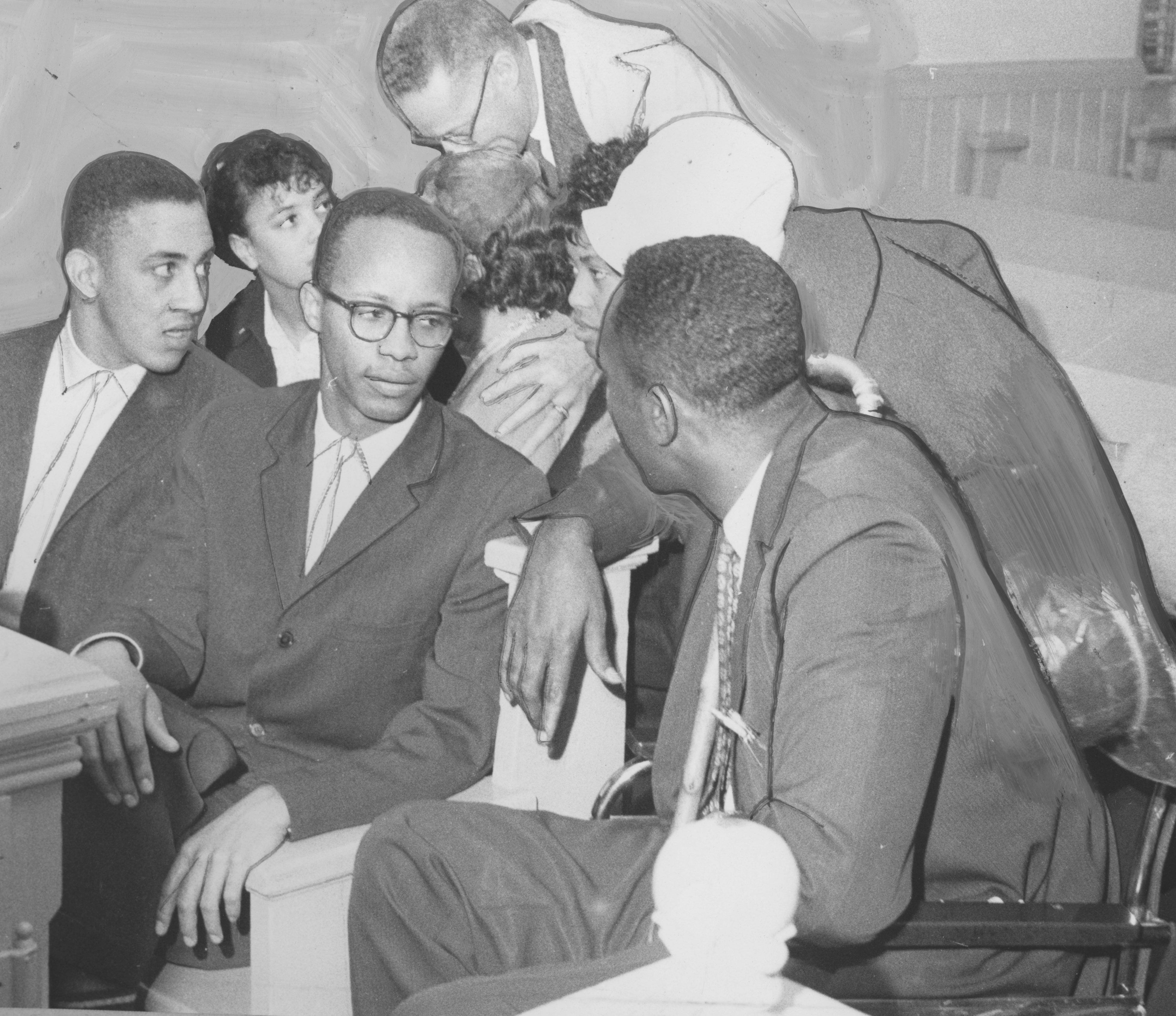From left to right: Charles Sherrod, Joseph Jones, and the Rev. Ivory Cecil, president of the National Association for the Advancement of Colored People Rock Hill Branch, meet in a South Carolina courtroom to discuss strategy.