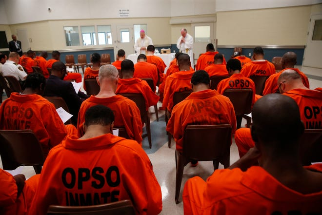 A prison prayer service in New Orleans in 2017.