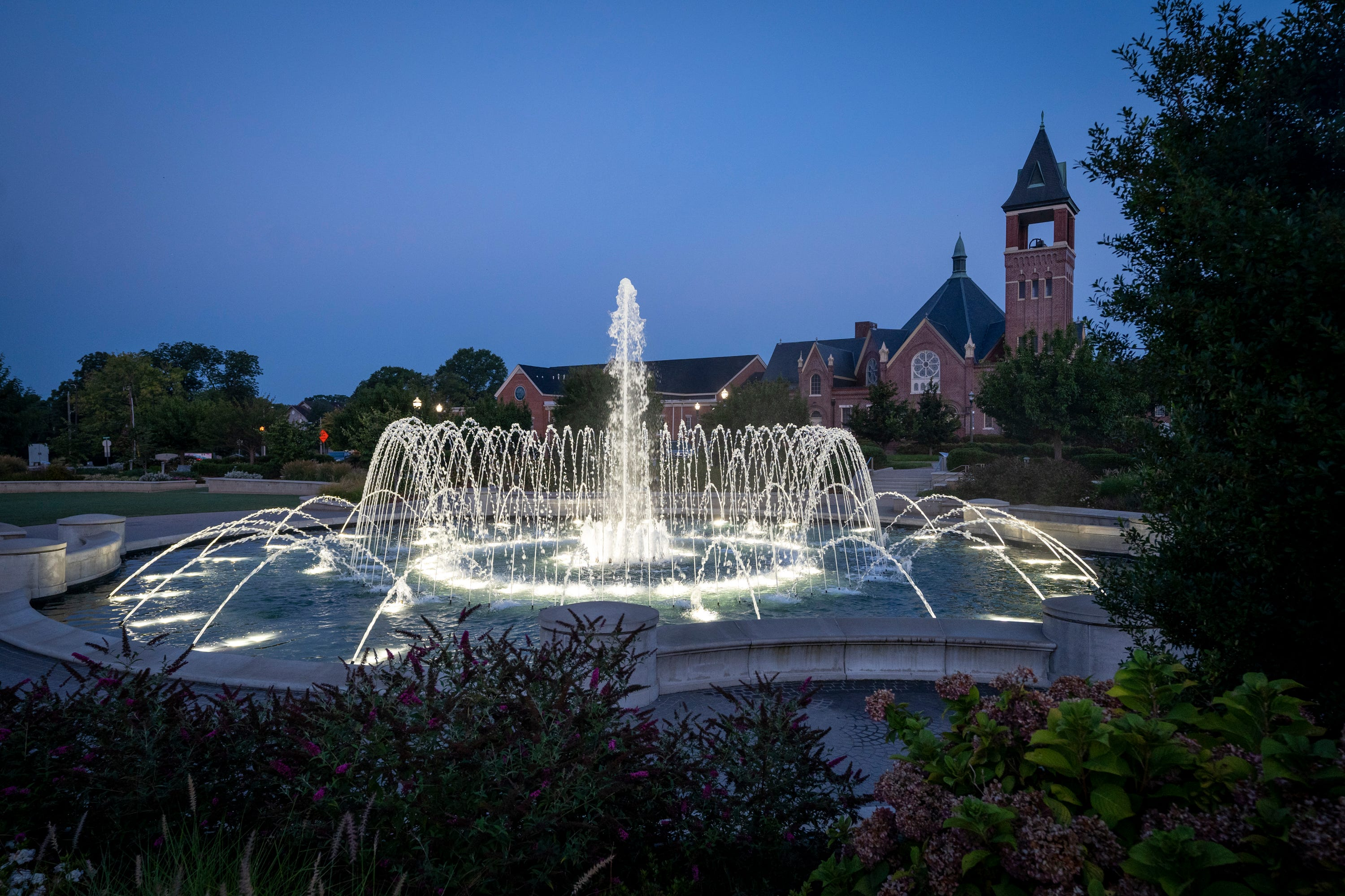 Fountain Park lights up the early morning in Rock Hill, S.C., on Aug. 12, 2021.