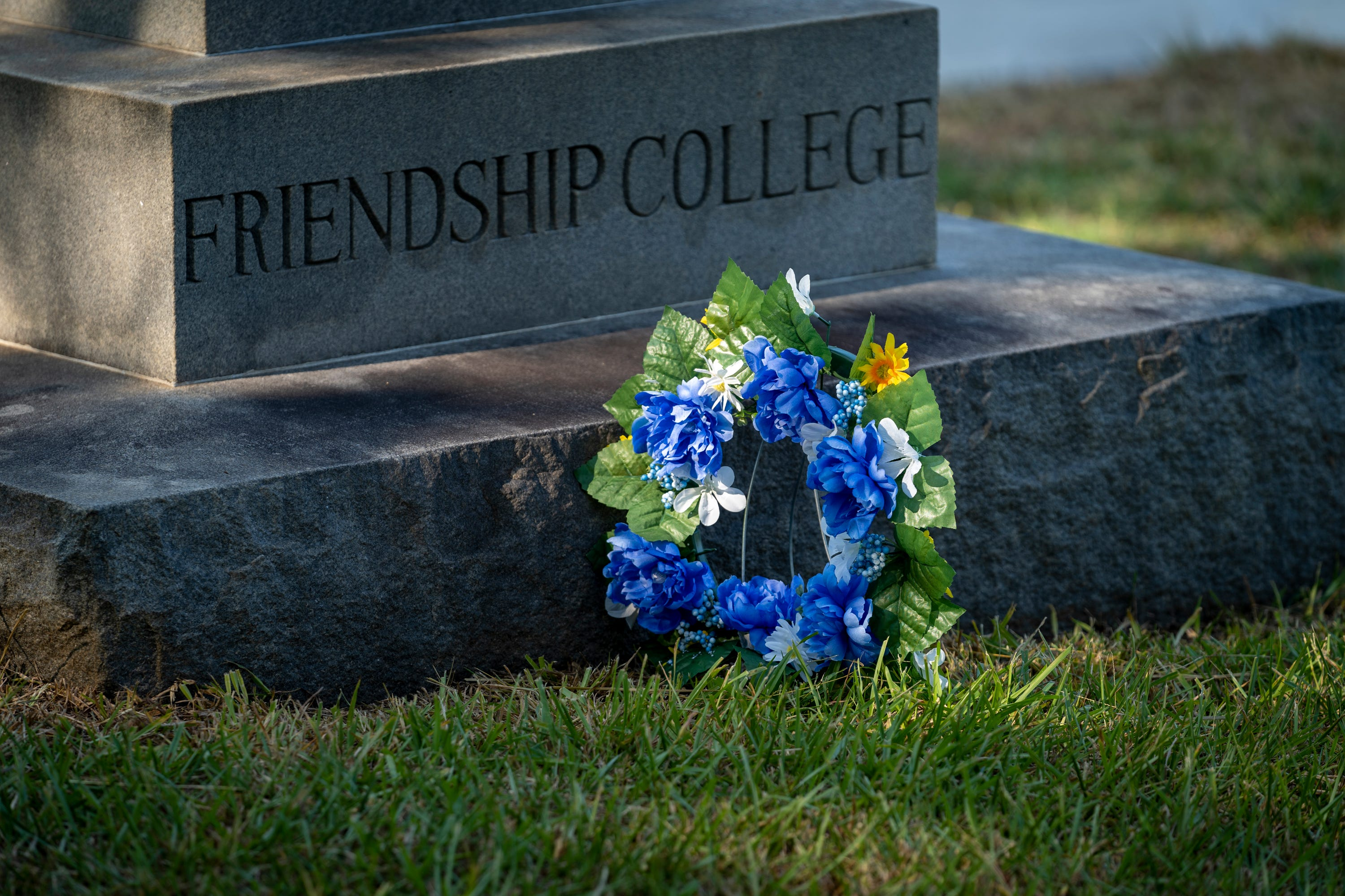 A marker memorialized Friendship College in Rock Hill, S.C., on Aug. 12, 2021.