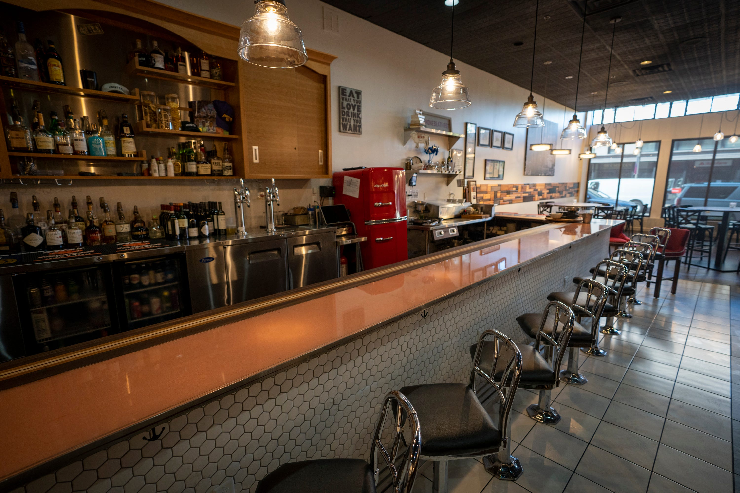 The original McCrory's Five & Dime lunch counter, restored and preserved by the owners of Kounter, is the restaurant's centerpiece in Rock Hill, S.C., on Aug. 12, 2021.