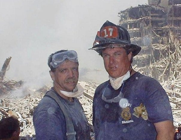 Hudson resident and retired New York City firefighter John Murphy, right, is pictured at ground zero in 2001 with firefighter Mike Steel. As he saw the attacks unfold on 9/11, Murphy decided to head to New York City to help firefighters in any way he could.