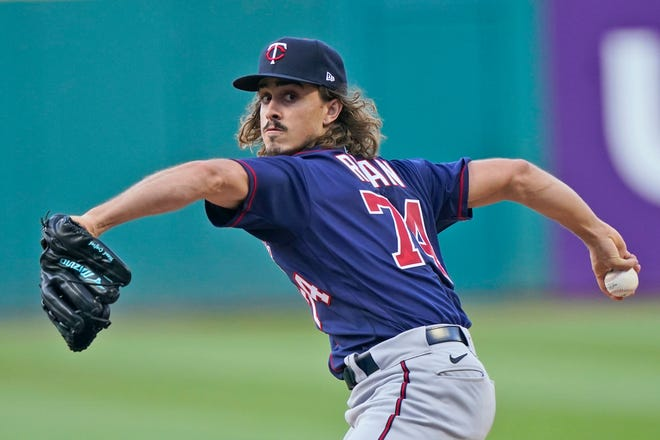 Minnesota Twins starting pitcher Joe Ryan retired the first 19 batters he faced before Cleveland's Amed Rosario broke up his perfect game with a one-out single in the seventh inning of the Twins' 3-0 win Wednesday night. [Tony Dejak/Associated Press]