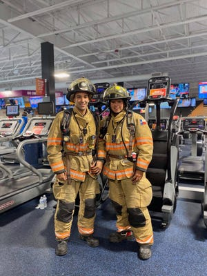 Alice Firefighters Robert Valdez and Kevin Figueroa have been suiting up with protective gear and stair climbing at a local gym in preparation for the 9/11 Memorial Stair Climb.
