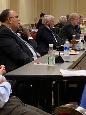 Members of University Hospital's board and the Richmond County Hospital Authority listen to a presentation on its proposed affiliation with Piedmont Healthcare during a meeting at the Augusta Marriott. From left, Terry Elam, Edward Tarver, University CEO Jim Davis, board chairman Hugh Hamilton, University Chief Administrative Officer Ed Burr and member Levi Hill IV. Sept. 9, 2021
