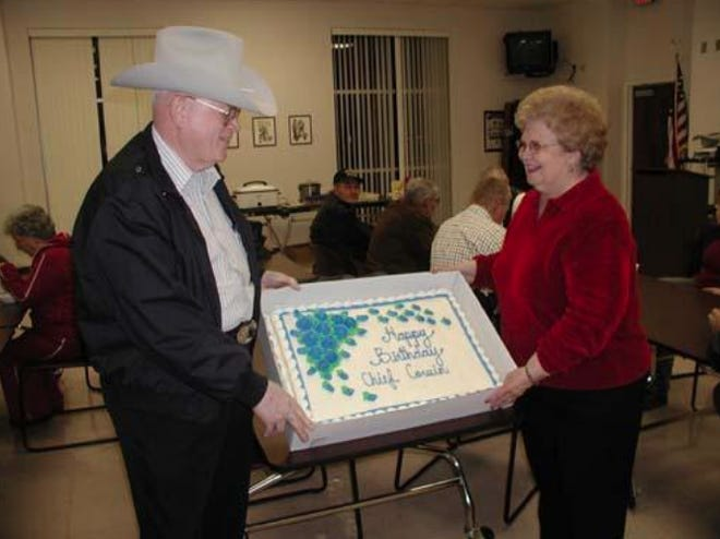 Virgil and Shirley Cowin are pictured at a combination New Year's Eve and birthday party for Virgil Cowin at the Law Enforcement Center on Dec. 31, 2008.