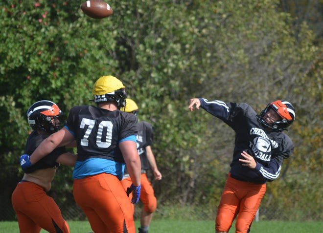 Cheboygan senior quarterback Henry Stempky throws a deep ball during practice at Western Avenue Field on Wednesday. Cheboygan will travel to Grayling for its Northern Michigan Football League Legends Division opener on Friday night.