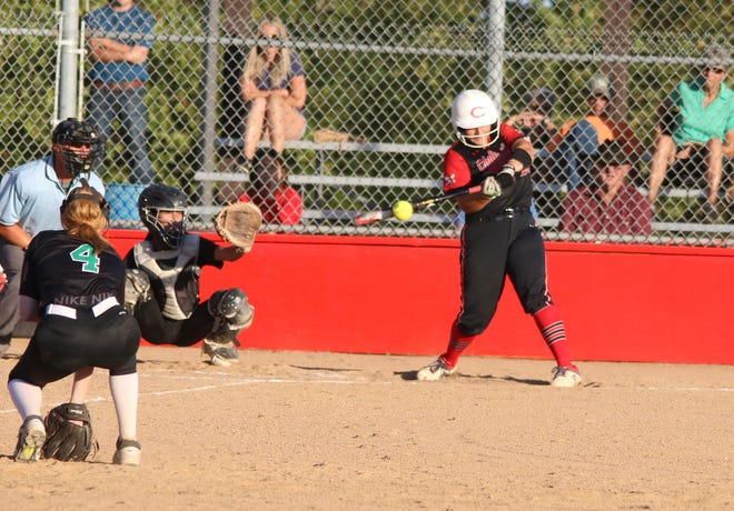 Senior Mika Hibner of the 2021 Chillicothe High School softball Lady Hornets makes contact on one of her two opposite-field singles during Wednesday's 11-0 home victory over Tina-Avalon. A day earlier at St. Joseph, Hibner had one of three CHS home runs in a record-tying 22-3 blasting of St. Joseph: Lafayette.