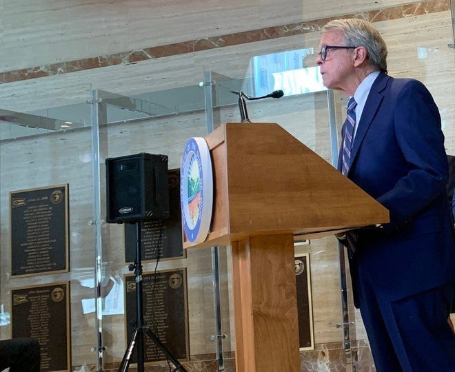 Ohio Gov. Mike DeWine at an August press conference in Columbus.