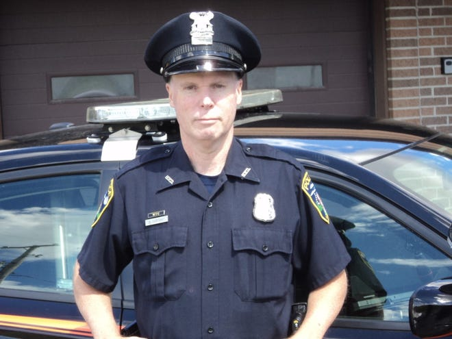 Michael Samoray pictured Wednesday outside the Hudson Police Department.