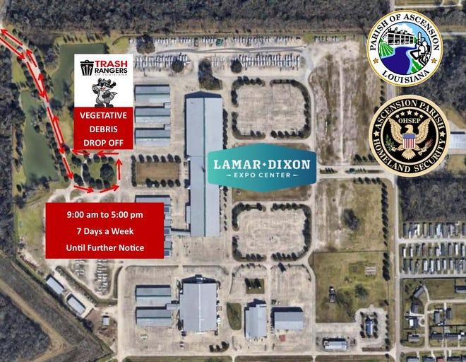 Ascension Parish residents may take vegetative storm debris to Lamar-Dixon Expo Center for removal.