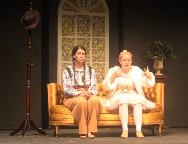 June (right, played by Clara Bay) laments to sister Louise (Danielle Gibbs) about the control their mother Rose has over their lives in a rehearsal scene from City Theatre of Independence's production of 'Gypsy,' which opens this weekend at the Sermon Center.