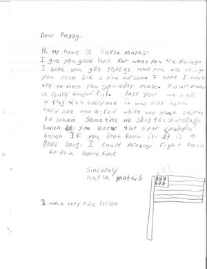 Letters written by Tryon Elementary students weeks after the attacks of Sept. 11, 2001 will be displayed at the U.S. Secret Service headquarters in Washington, D.C.  Picture here is a letter and drawing made in 2001 by a student named Kayla Mathis.