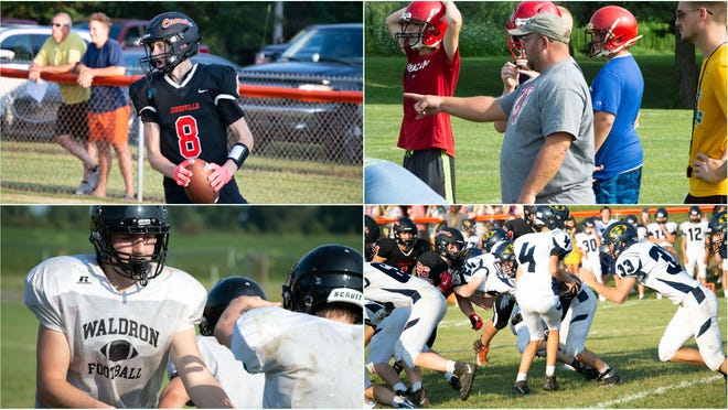 Pictured: Top Left (Jonesville WR Brady Wright); Top Right (Camden-Frontier Head Coach Rob Wickham); Bottom Left (Waldron QB Noah Knepper); Bottom Right (Hillsdale QB Jack Bowles).