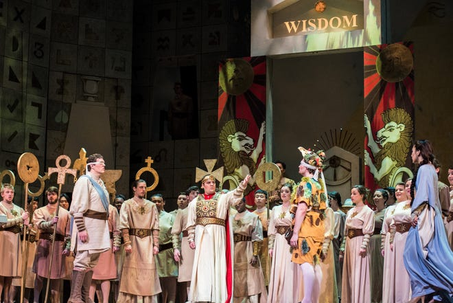 """The chorus is seen in the Indiana University Jacobs School of Music's 2015 production of """"The Magic Flute."""""""