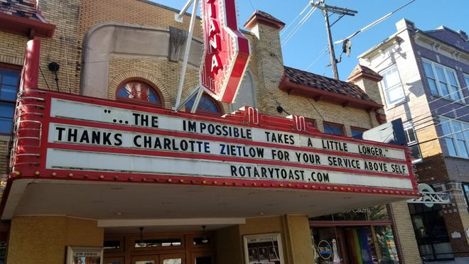 Charlotte Zietlow is honored on the Buskirk-Chumley Theater marquee on Sept. 6, ahead of the Bloomington Rotary Toast set for Nov. 5 at Ivy Tech's Shreve Hall.